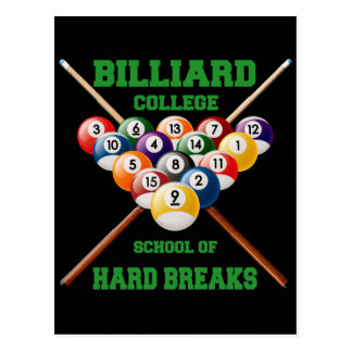 BILLIARD COLLEGE SCHOOL OF HARD BREAKS POSTCARD