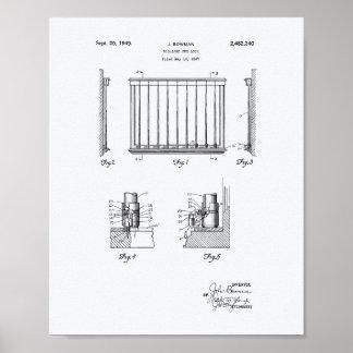 Billiard Cue Lock 1949 Patent Art - White Paper Poster