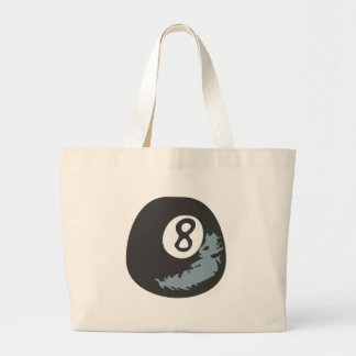 Billiard Eight Ball in Hand drawn Style Large Tote Bag