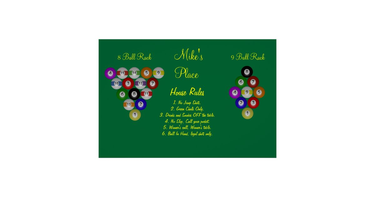 billiard house pool rules poster