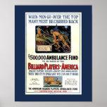 Billiard Players of America WW1 Fundraising Poster