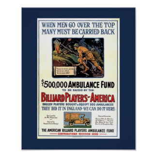 Billiard Players of America WW1 Fundraising Poster
