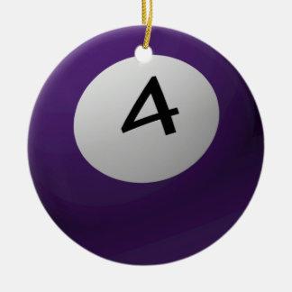 BILLIARD / POOL  BALL CHRISTMAS ORNAMENT 4 (FOUR)