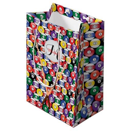 Billiard Pool Ball Pattern - Monogram Medium Gift Bag