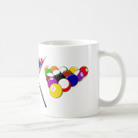 Billiard Pool Balls and Cues Coffee Mug