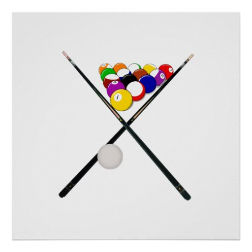Billiard Pool Balls and Cues Poster