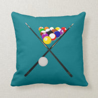 Billiard Pool Balls and Cues Throw Pillow