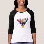 Billiard / Pool Balls - Ladies 3/4 Sleeve Raglan T Shirt