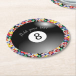 "Billiard Pool Balls Solid Number Eight Round Paper Coaster<br><div class=""desc"">Paper Coasters. Billiard Pool Balls Solid Number Eight. ALL BALL NUMBERS AVAILABLE! 100% Customizable. Ready to Fill in the box(es) or Click on the CUSTOMIZE button to add, move, delete or change any of the text or graphics. Made with high resolution vector and/or digital graphics for a professional print. NOTE:...</div>"
