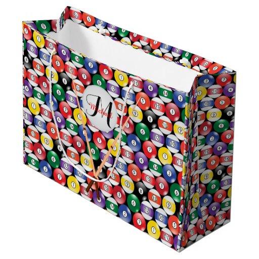 Billiard Pool Balls with Monogram Large Gift Bag