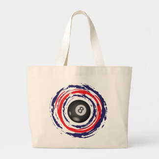 Billiard Red Blue And White Large Tote Bag