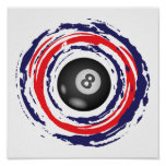 Billiard Red Blue And White Poster