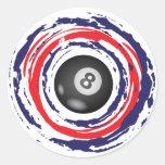 Billiard Red Blue And White Round Stickers