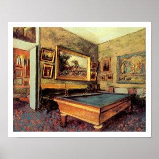 Billiard Room at Meni-Hubert by Degas Poster