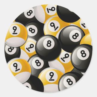BILLIARDS 8 & 9 BALLS COLLAGE CLASSIC ROUND STICKER