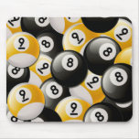 BILLIARDS 8 & 9 BALLS COLLAGE MOUSE PAD