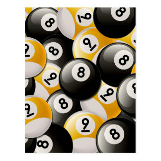 BILLIARDS 8 & 9 BALLS COLLAGE POSTCARD