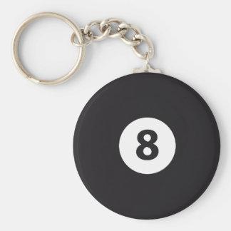 Billiards 8 basic round button keychain