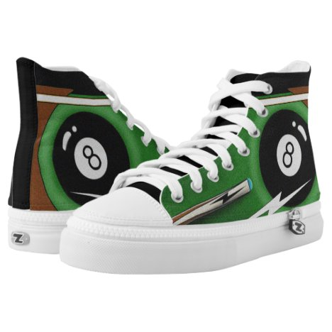 Billiards, 8Ball, Cue Stick, Pool Game, Pool Table High-Top Sneakers