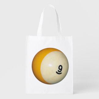 Billiards 9 Ball Reusable Grocery Bag