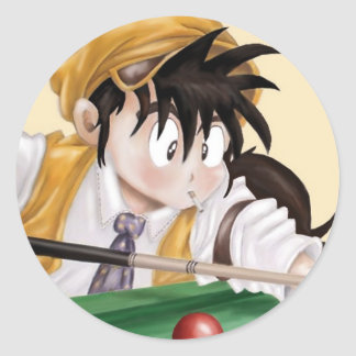 Billiards Anime Classic Round Sticker