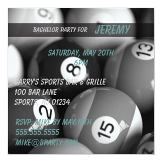 Billiards Bachelor Party Invitation Cards