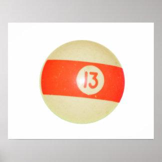 Billiards Ball #13 Poster