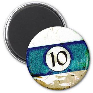 BILLIARDS BALL NUMBER 10 2 INCH ROUND MAGNET