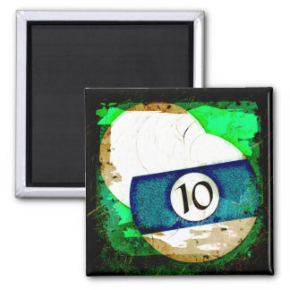 BILLIARDS BALL NUMBER 10 2 INCH SQUARE MAGNET