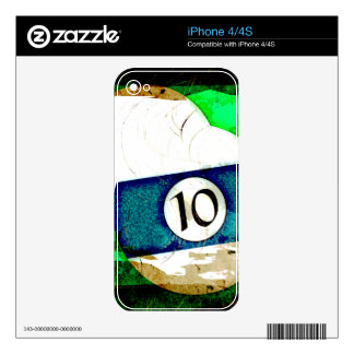 BILLIARDS BALL NUMBER 10 DECAL FOR THE iPhone 4S