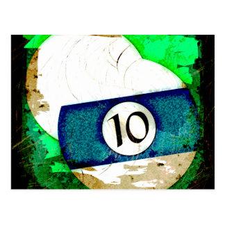 BILLIARDS BALL NUMBER 10 POSTCARD