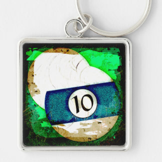 BILLIARDS BALL NUMBER 10 Silver-Colored SQUARE KEYCHAIN