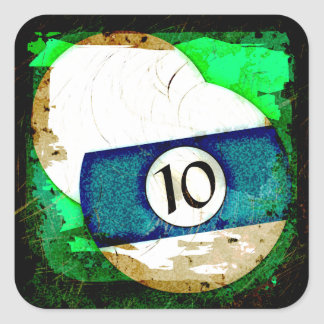 BILLIARDS BALL NUMBER 10 SQUARE STICKER