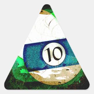 BILLIARDS BALL NUMBER 10 TRIANGLE STICKER