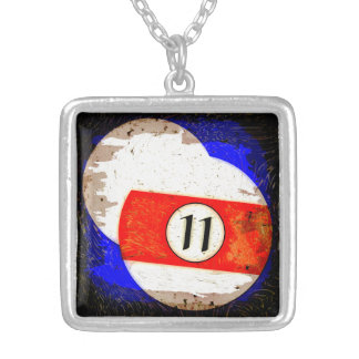 BILLIARDS BALL NUMBER 11 SILVER PLATED NECKLACE