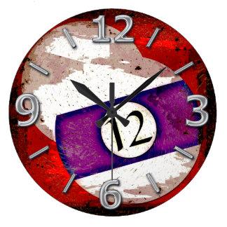 BILLIARDS BALL NUMBER 12 WALL CLOCKS