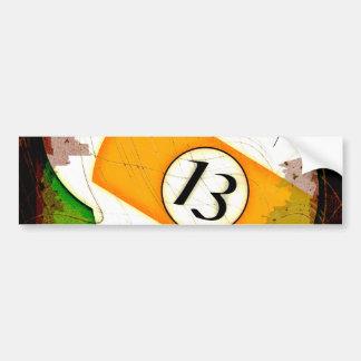 BILLIARDS BALL NUMBER 13 CAR BUMPER STICKER