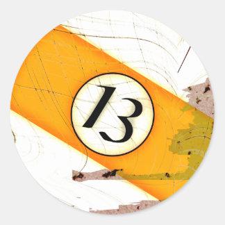 BILLIARDS BALL NUMBER 13 CLASSIC ROUND STICKER