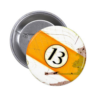 BILLIARDS BALL NUMBER 13 PINBACK BUTTON