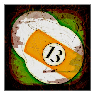BILLIARDS BALL NUMBER 13 POSTER