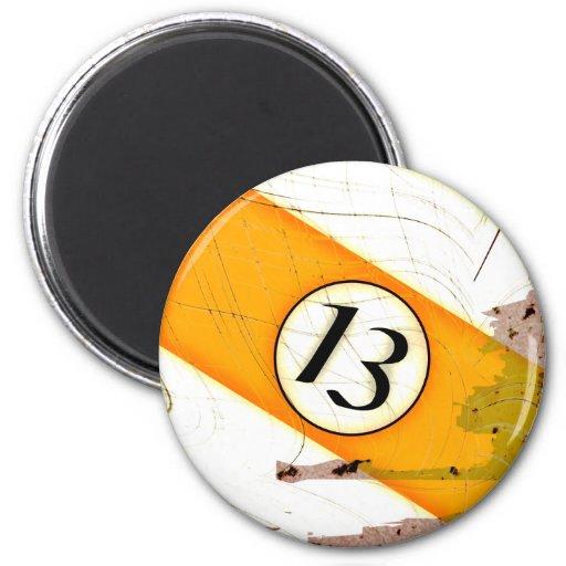 BILLIARDS BALL NUMBER 13 REFRIGERATOR MAGNET