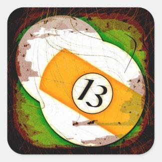 BILLIARDS BALL NUMBER 13 SQUARE STICKER
