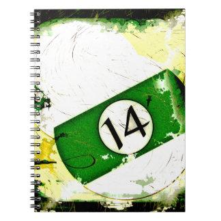 BILLIARDS BALL NUMBER 14 SPIRAL NOTEBOOK