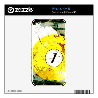 BILLIARDS BALL NUMBER 1 SKINS FOR THE iPhone 4S