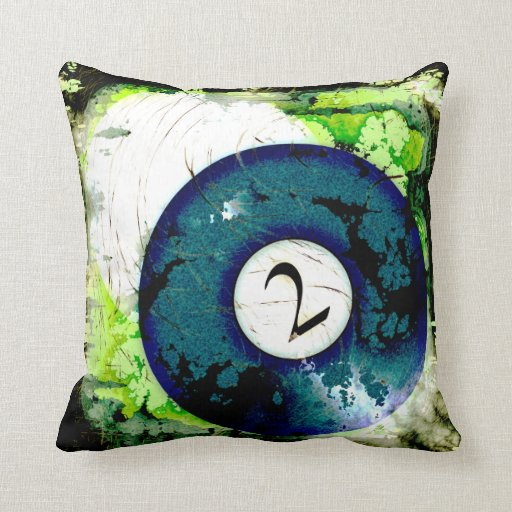 BILLIARDS BALL NUMBER 2 THROW PILLOWS Zazzle