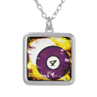 BILLIARDS BALL NUMBER 4 SILVER PLATED NECKLACE