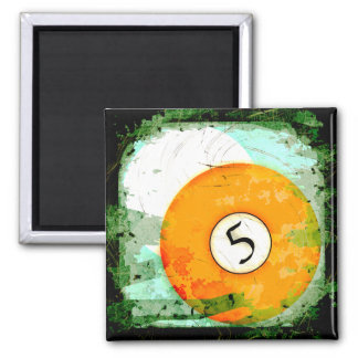 BILLIARDS BALL NUMBER 5 2 INCH SQUARE MAGNET