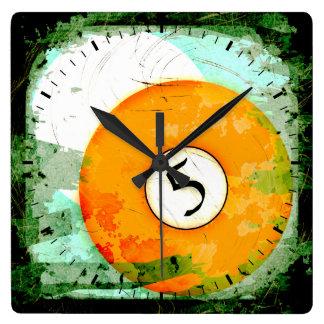BILLIARDS BALL NUMBER 5 SQUARE WALL CLOCKS