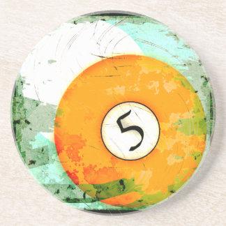 BILLIARDS BALL NUMBER 5 BEVERAGE COASTERS