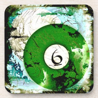 BILLIARDS BALL NUMBER 6 BEVERAGE COASTER